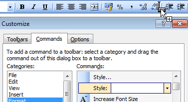 Adding Styles list to toolbar