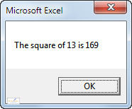Dialog box showing square