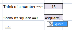 Typing in SQUARE function