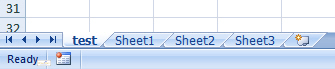 New worksheet in tabs