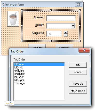 Tab order for controls in a frame