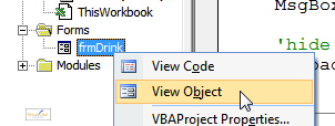 View object short-cut menu