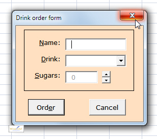 A form's close button