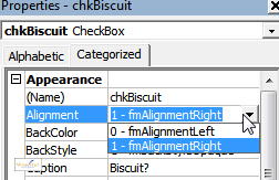 The Alignment property of a checkbox