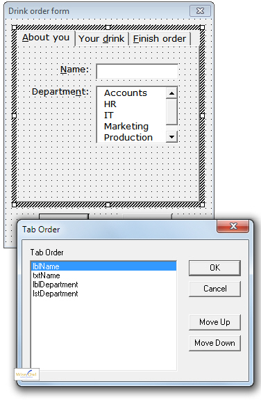 Tab order dialog box for one page