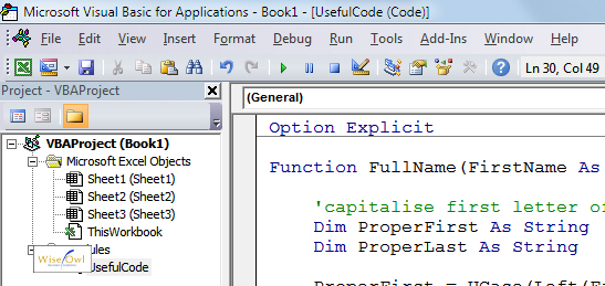 Example of add-in code in VBA