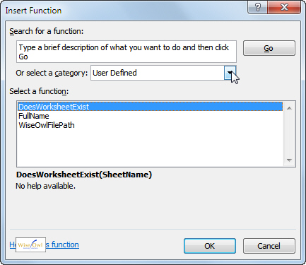 User-defined functions list