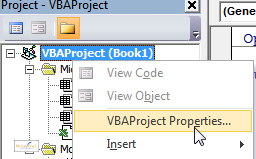 Displaying VBAProject properties