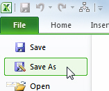 File Save As menu