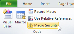 Selecting macro security