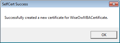 Successfully created certificate