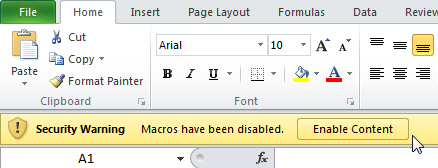 Enable macro in 2010
