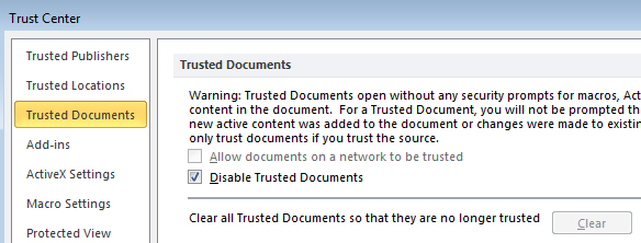 Disable trusted documents