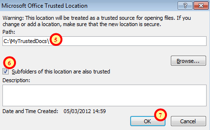 Creating trusted location