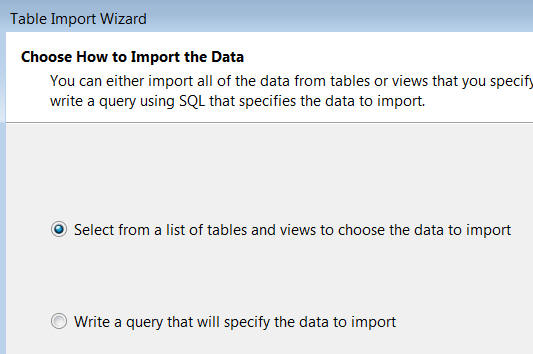 Table import wizard 2