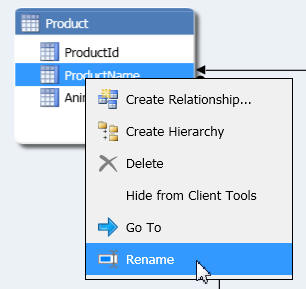 Renaming a column in diagram view