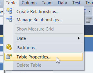 Table properties menu