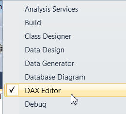 Showing the DAX editor toolbar
