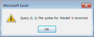 Error message - the syntax is incorrect