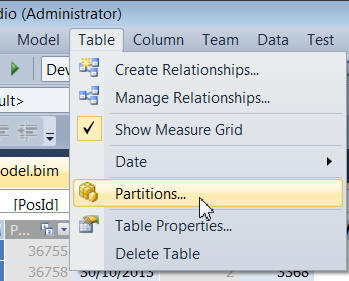 Partitions menu