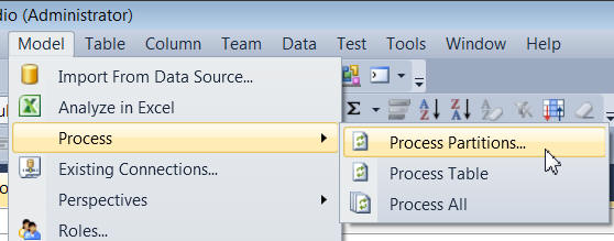 Process partitions menu