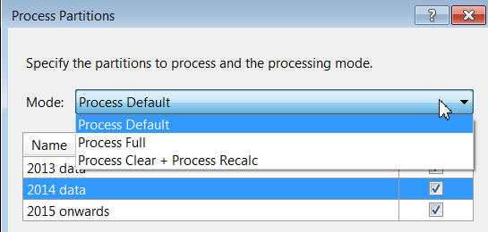 Process partitions options