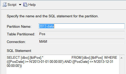SQL for partitiion