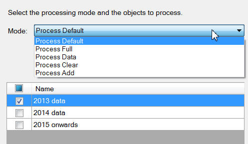 Select a processing method