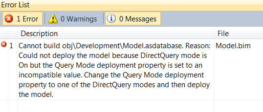 Can't deploy DirectQuery project