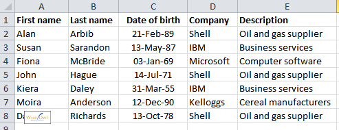List of clients in Excel