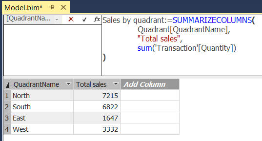 Calculated table example