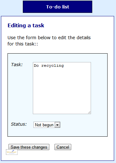 Editing a task