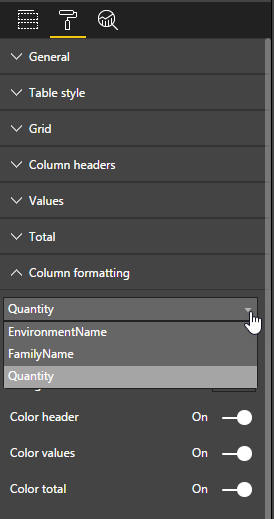 Quantity column settings