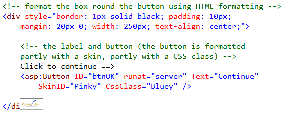 Sample HTML for button