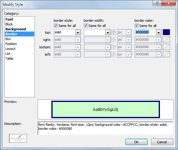The Modify Style dialog box