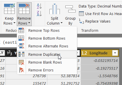 Remove duplicate rows