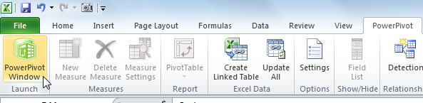 The PowerPivot tab