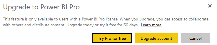 Power BI Pro feature