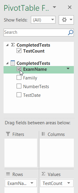 The pivot table field list
