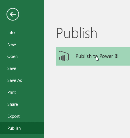 Publishing from Excel