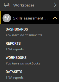 Report in workspace