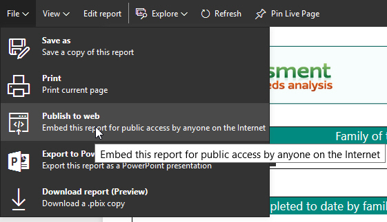Choose to embed a report