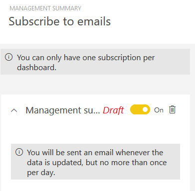 Subscribing to a dashboard