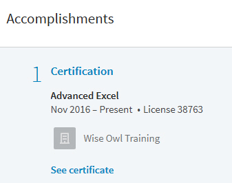 Certificates on LinkedIn