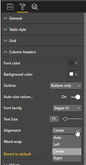 Column header alignment