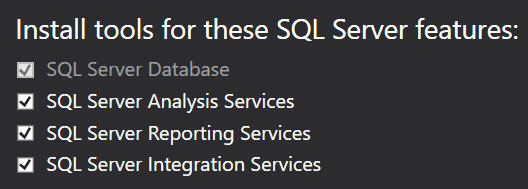Choosing SQL Server features