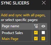 Sync slicers dynamic page