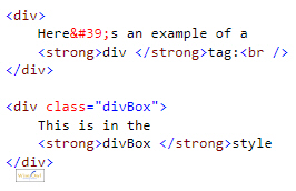 HTML for div tag