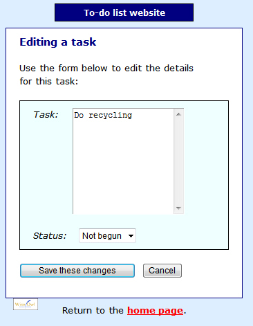 Form for editing task