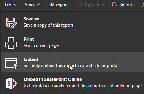 Embedding a report